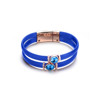 Alberto Moore Rose-plated Sterling Silver Turquoise Blue Rubber Sky Blue Cubic Zirconia Bracelet