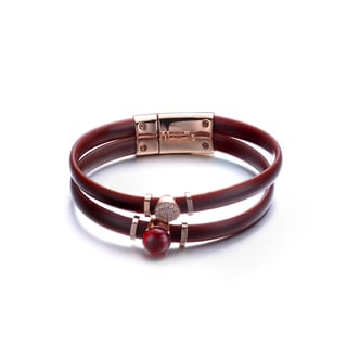 Alberto Moore Rose-plated Sterling Silver Brown Rubber Rubby Cubic Zirconia Bracelet