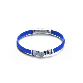 Alberto Moore Sterling Silver Turquoise Blue Rubber Bracelet