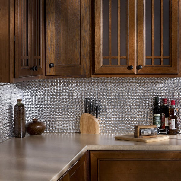 Fasade Traditional Style 10 Brushed Aluminum 18 In X 24: Fasade Terrain In Brushed Aluminum Backsplash 18 Square
