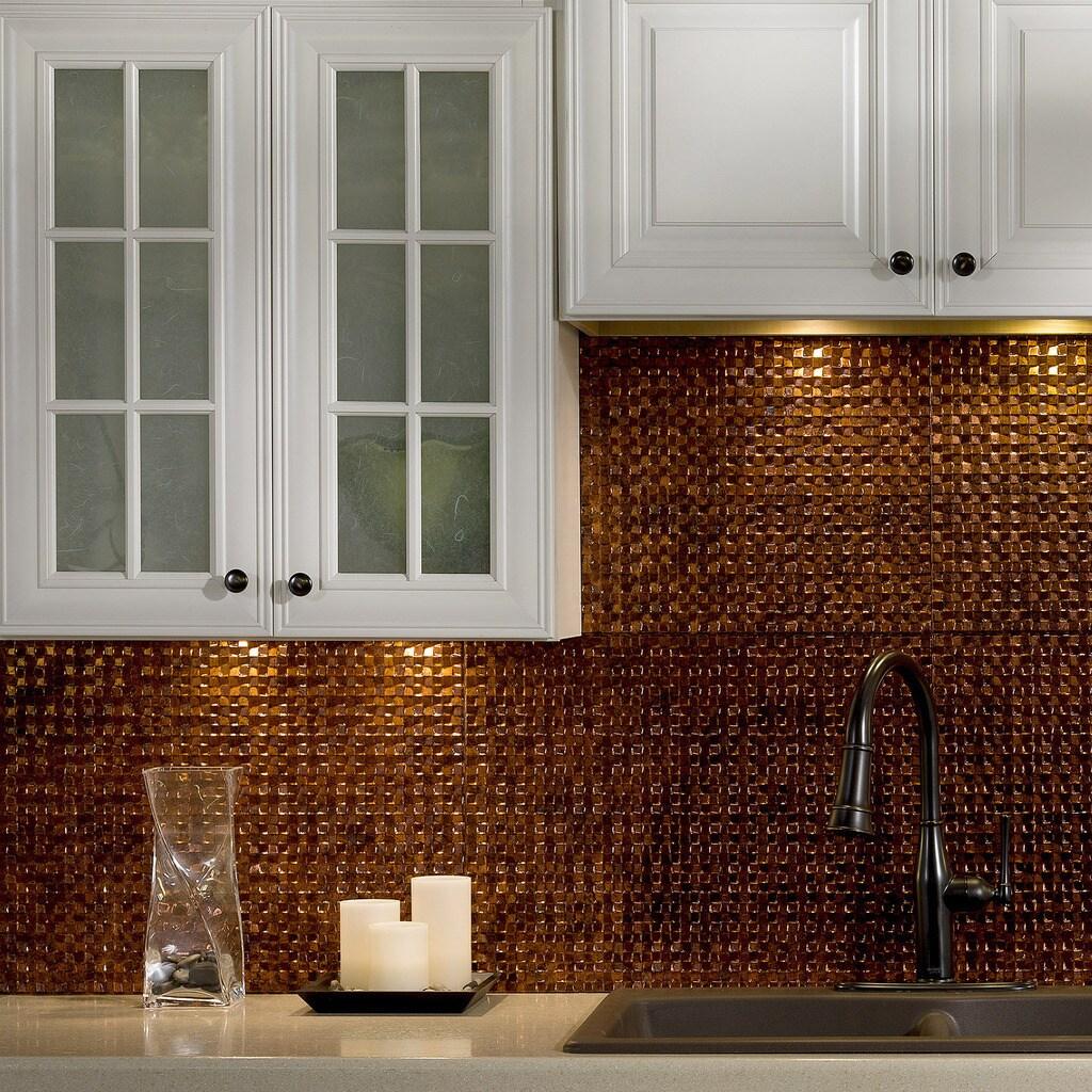 - Shop Fasade Terrain Moonstone Copper Backsplash 18 Square Feet Kit