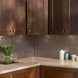 Fasade Terrain in Brushed Nickel Backsplash 18 square feet kit