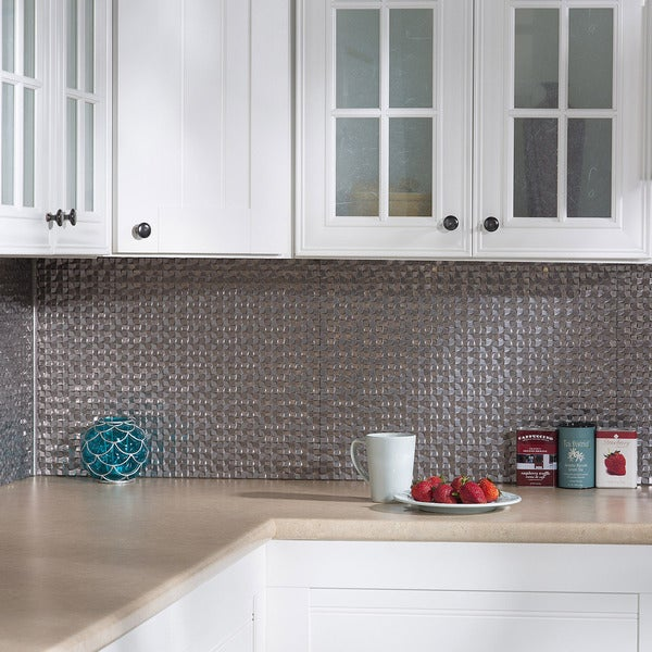 fasade terrain in galvanized steel backsplash 18 square feet kit