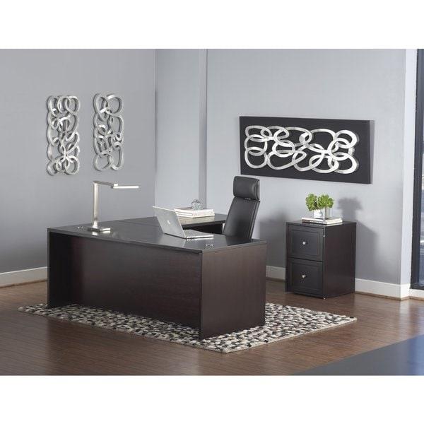 L Shaped Executive Desk W Mobile Pedestal In Espresso