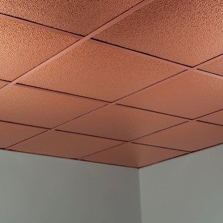 Fasade Hammered Polished Copper 2-foot Square Lay-in Ceiling Tile