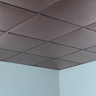 Fasade Hammered Brushed Nickel 2 Foot Square Lay In Ceiling Tile