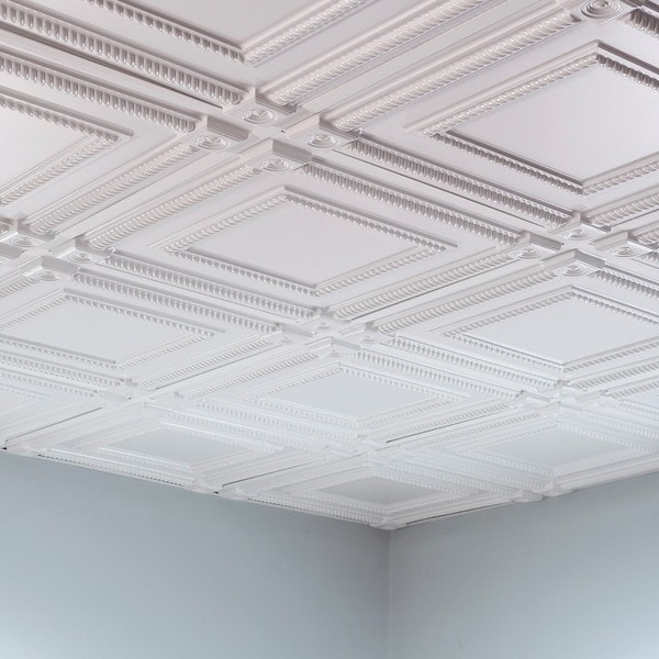 Fasade Coffer Gloss White 2 Foot Square Lay In Ceiling