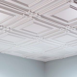Fasade Coffer Gloss White 2 Foot Square Lay In Ceiling Tile