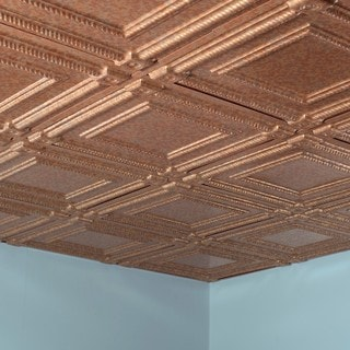 Fasade Coffer Cracked Copper 2-foot Square Lay-in Ceiling Tile