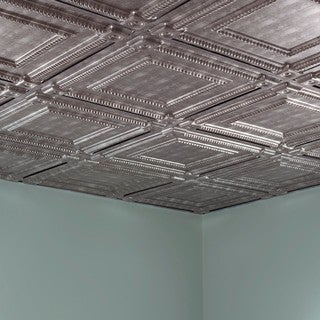 Fasade Coffer Crosshatch Silver 2-foot Square Lay-in Ceiling Tile