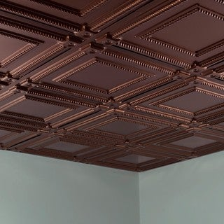 Fasade Coffer Oil Rubbed Bronze 2-foot Square Lay-in Ceiling Tile