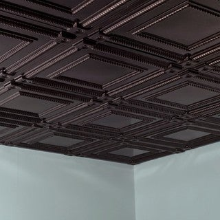 Fasade Coffer Smoked Pewter 2-foot Square Lay-in Ceiling Tile