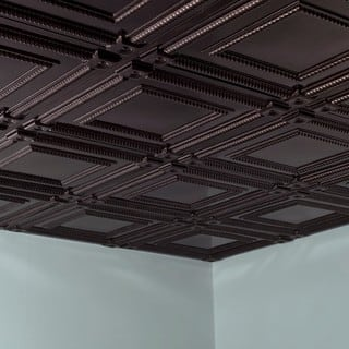 Fasade Coffer Smoked Pewter 2-foot Square Lay-in Ceiling Tile|https://ak1.ostkcdn.com/images/products/10516899/P17601054.jpg?impolicy=medium