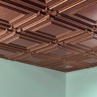 Fasade Coffer Antique Bronze 2-foot Square Lay-in Ceiling Tile