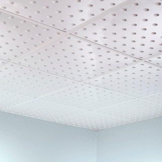 Fasade Dome Gloss White 2-foot Square Lay-in Ceiling Tile