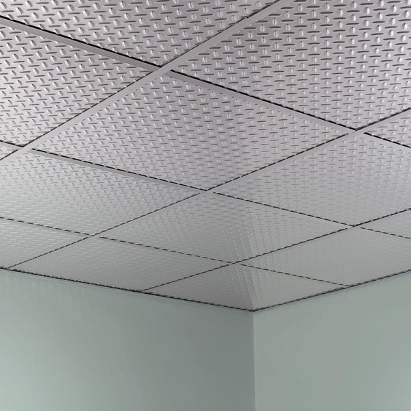 Fasade Diamond Plate Revealed Edge Brushed Aluminum 2 Foot Square Lay In Ceiling Tile Free Shipping On Orders Over 45 10516997
