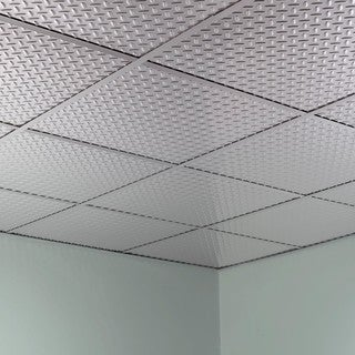 Fasade Diamond Plate Revealed Edge Brushed Aluminum 2-foot Square Lay-in Ceiling Tile