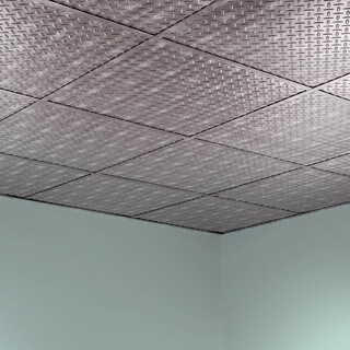 Fasade Diamond Plate Revealed Edge Crosshatch Silver 2-foot Square Lay-in Ceiling Tile