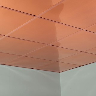 Fasade Flat Polished Copper 2-foot Square Lay-in Ceiling Tile