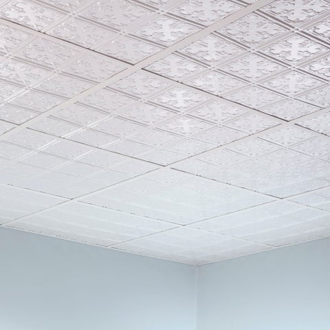Fasade Traditional Style #10 Matte White 2-foot Square Lay-in Ceiling Tile