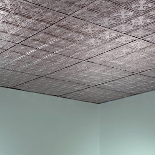 Fasade Traditional Style #10 Crosshatch Silver 2-foot Square Lay-in Ceiling Tile