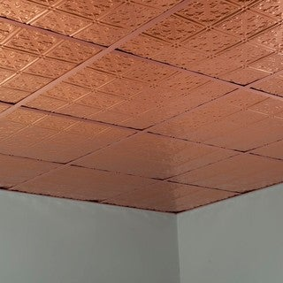 Fasade Traditional Style #10 Polished Copper 2-foot Square Lay-in Ceiling Tile