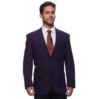 Bolzano Men's Big and Tall Eggplant 2-button Jacket