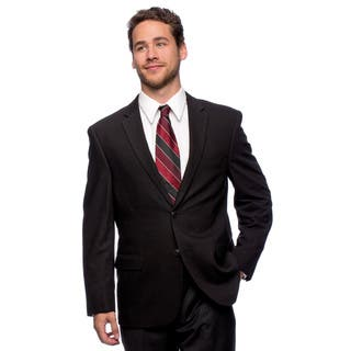 Caravelli Men's 'Superior 150's' Big and Tall Black Wool Feel Jacket (Option: 56r)|https://ak1.ostkcdn.com/images/products/10517163/P17601276.jpg?impolicy=medium