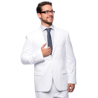 Bolzano Men'sw Big and Tall White 2-button Suit