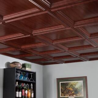 Fasade Clic Coffer Cherry 2 Foot Square Lay In Ceiling Tile
