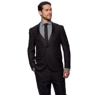 West End Men's Black Young Look Slim Fit Satin-Detailed Tuxedo