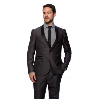 West End Men's Charcoal Young Look Slim Fit Collar Satin-Detailed Tuxedo (More options available)