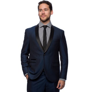 West End Men's Navy Young Look Slim Fit Collar Satin-Detailed Tuxedo