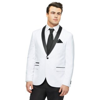 West End Men's White Young Look Slim Fit Collar Satin-Detailed Tuxedo