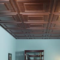 Fasade Raised Coffer Walnut 2-foot Square Lay-in Ceiling Tile