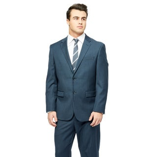 Prontomoda Europa Men's Navy Sharkskin Wool Suit