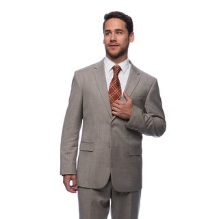Prontomoda Europa Men's Tan Sharkskin Wool Suit