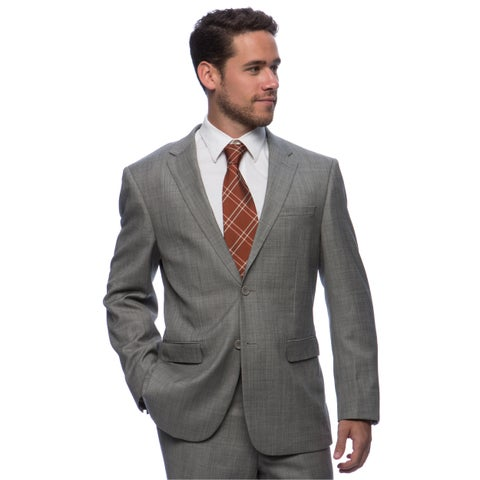 Prontomoda Europa Men's Grey Sharkskin Wool Suit