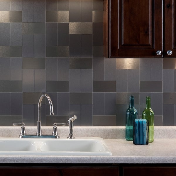 Up To 45 Off Peel Stick Kitchen Backsplash Tile At Walmart: Shop Aspect 3x6-inch Brushed Stainless Long Grain Metal