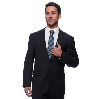 Prontomoda Europa Men's Navy Glen Plaid Wool Suit