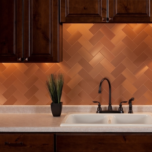 6 Kitchen Backsplash Ideas That Will Transform Your Space: Shop Aspect 3x6-inch Brushed Copper Short Grain Metal Tile