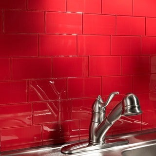Aspect 3x6-inch Wild Strawberry Glass Tile (8-pack)
