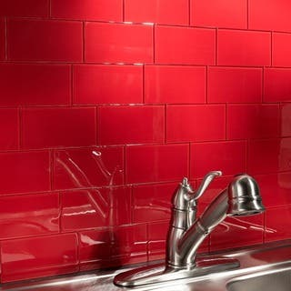 aspect 3x6 inch wild strawberry glass tile 8 pack - Bathroom Tiles Red