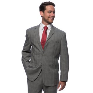 Prontomoda Europa Men's Grey Glen Plaid Wool Suit