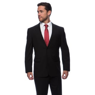 Prontomoda Europa Men's Black Stripe Wool Suit