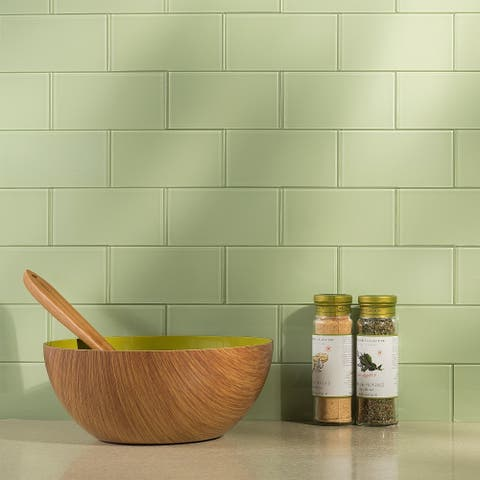 Aspect 3x6-inch Fresh Sage Glass Tile (8-pack)