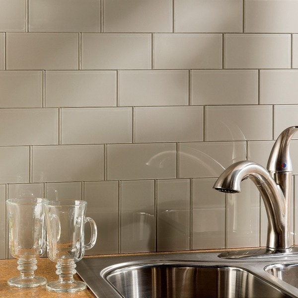 Shop aspect 3x6 inch putty decorative wall tile 8 pack - Decorative wall tiles for kitchen backsplash ...