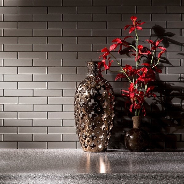 Up To 45 Off Peel Stick Kitchen Backsplash Tile At Walmart: Shop Aspect 12x4-inch Matted Subway Glass Leather Peel