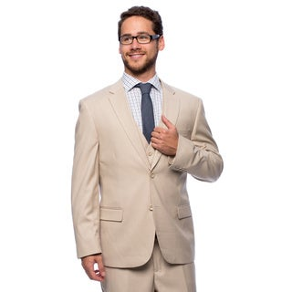 Caravelli Men's Slim Fit 'Superior 150-inch Beige Wool Feel Vested Suit