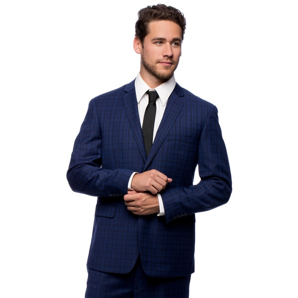 Caravelli Men's Slim Fit Blue 2-button Notch Collar Plaid Suit ...